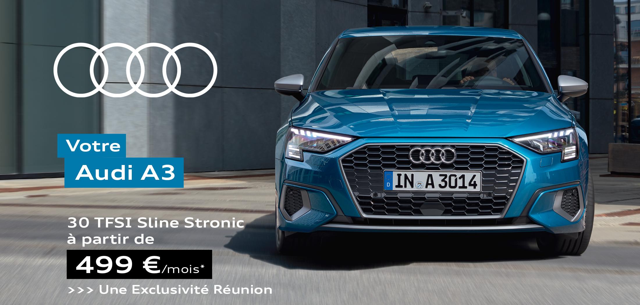 Audi A3 30 TFSI Sline Stronic à partir de 499€ par mois